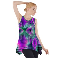 Teal Violet Crystal Palace, Abstract Cosmic Heart Side Drop Tank Tunic
