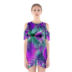 Teal Violet Crystal Palace, Abstract Cosmic Heart Cutout Shoulder Dress