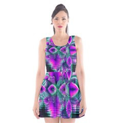 Teal Violet Crystal Palace, Abstract Cosmic Heart Scoop Neck Skater Dress