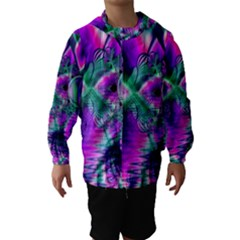 Teal Violet Crystal Palace, Abstract Cosmic Heart Hooded Wind Breaker (Kids)