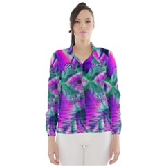 Teal Violet Crystal Palace, Abstract Cosmic Heart Wind Breaker (women)