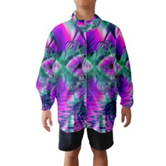Teal Violet Crystal Palace, Abstract Cosmic Heart Wind Breaker (Kids)