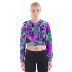 Teal Violet Crystal Palace, Abstract Cosmic Heart Women s Cropped Sweatshirt