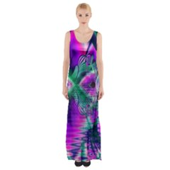 Teal Violet Crystal Palace, Abstract Cosmic Heart Maxi Thigh Split Dress
