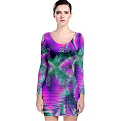 Teal Violet Crystal Palace, Abstract Cosmic Heart Long Sleeve Velvet Bodycon Dress