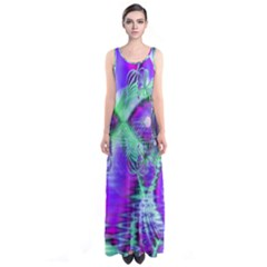 Violet Peacock Feathers, Abstract Crystal Mint Green Full Print Maxi Dress