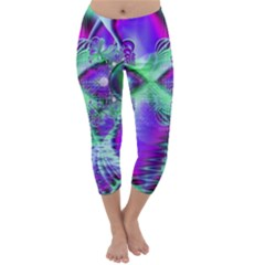 Violet Peacock Feathers, Abstract Crystal Mint Green Capri Winter Leggings