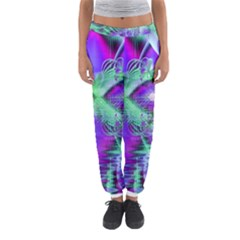 Violet Peacock Feathers, Abstract Crystal Mint Green Women s Jogger Sweatpants