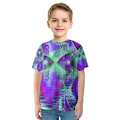 Violet Peacock Feathers, Abstract Crystal Mint Green Kid s Sport Mesh Tee