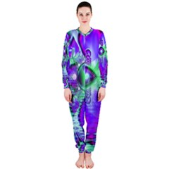 Violet Peacock Feathers, Abstract Crystal Mint Green Onepiece Jumpsuit (ladies)