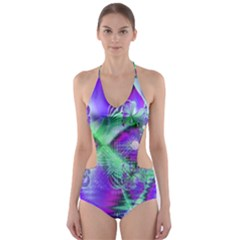 Violet Peacock Feathers, Abstract Crystal Mint Green Cut-Out One Piece Swimsuit
