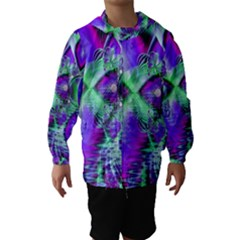 Violet Peacock Feathers, Abstract Crystal Mint Green Hooded Wind Breaker (Kids)