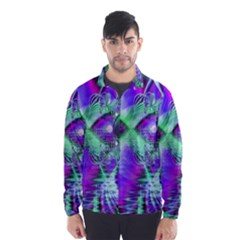 Violet Peacock Feathers, Abstract Crystal Mint Green Wind Breaker (men)