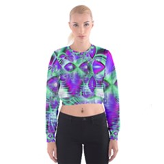 Violet Peacock Feathers, Abstract Crystal Mint Green Women s Cropped Sweatshirt
