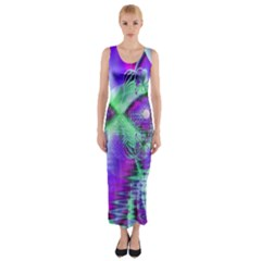 Violet Peacock Feathers, Abstract Crystal Mint Green Fitted Maxi Dress