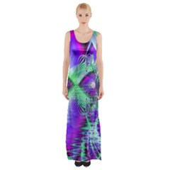 Violet Peacock Feathers, Abstract Crystal Mint Green Maxi Thigh Split Dress