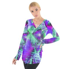 Violet Peacock Feathers, Abstract Crystal Mint Green Women s Tie Up Tee