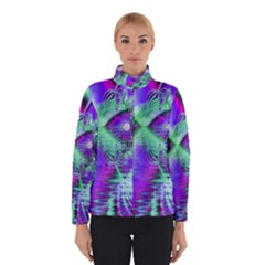 Violet Peacock Feathers, Abstract Crystal Mint Green Winterwear