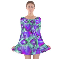 Violet Peacock Feathers, Abstract Crystal Mint Green Long Sleeve Velvet Skater Dress