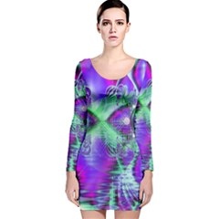 Violet Peacock Feathers, Abstract Crystal Mint Green Long Sleeve Velvet Bodycon Dress