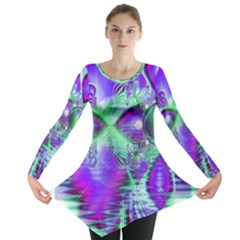 Violet Peacock Feathers, Abstract Crystal Mint Green Long Sleeve Tunic