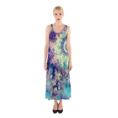 Violet Teal Sea Shells, Abstract Underwater Forest (purple Sea Horse, Abstract Ocean Waves  Full Print Maxi Dress