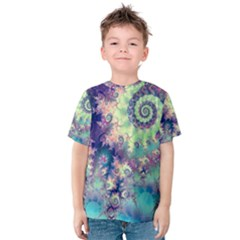 Violet Teal Sea Shells, Abstract Underwater Forest (purple Sea Horse, Abstract Ocean Waves  Kid s Cotton Tee