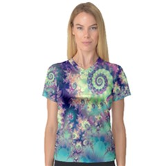 Violet Teal Sea Shells, Abstract Underwater Forest (purple Sea Horse, Abstract Ocean Waves  Women s V Neck Sport Mesh Tee