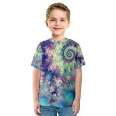 Violet Teal Sea Shells, Abstract Underwater Forest (purple Sea Horse, Abstract Ocean Waves  Kid s Sport Mesh Tee