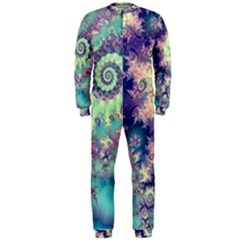 Violet Teal Sea Shells, Abstract Underwater Forest (purple Sea Horse, Abstract Ocean Waves  Onepiece Jumpsuit (men)