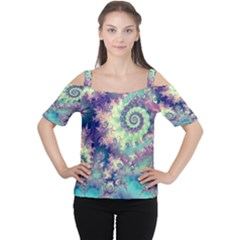 Violet Teal Sea Shells, Abstract Underwater Forest (purple Sea Horse, Abstract Ocean Waves  Women s Cutout Shoulder Tee