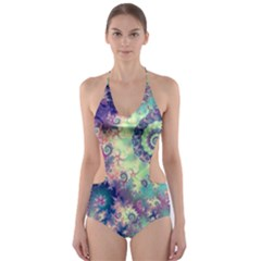Violet Teal Sea Shells, Abstract Underwater Forest (purple Sea Horse, Abstract Ocean Waves  Cut-Out One Piece Swimsuit