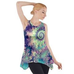 Violet Teal Sea Shells, Abstract Underwater Forest (purple Sea Horse, Abstract Ocean Waves  Side Drop Tank Tunic
