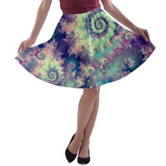 Violet Teal Sea Shells, Abstract Underwater Forest (purple Sea Horse, Abstract Ocean Waves  A Line Skater Skirt