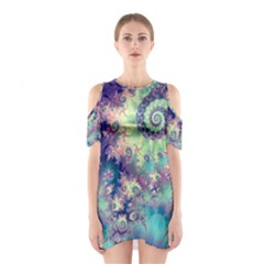 Violet Teal Sea Shells, Abstract Underwater Forest (purple Sea Horse, Abstract Ocean Waves  Cutout Shoulder Dress