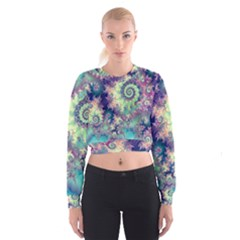 Violet Teal Sea Shells, Abstract Underwater Forest (purple Sea Horse, Abstract Ocean Waves  Women s Cropped Sweatshirt