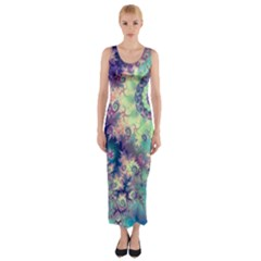 Violet Teal Sea Shells, Abstract Underwater Forest (purple Sea Horse, Abstract Ocean Waves  Fitted Maxi Dress