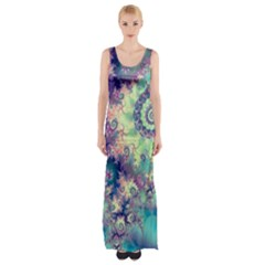 Violet Teal Sea Shells, Abstract Underwater Forest (purple Sea Horse, Abstract Ocean Waves  Maxi Thigh Split Dress