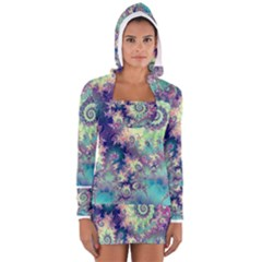 Violet Teal Sea Shells, Abstract Underwater Forest (purple Sea Horse, Abstract Ocean Waves  Women s Long Sleeve Hooded T-shirt