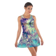 Violet Teal Sea Shells, Abstract Underwater Forest (purple Sea Horse, Abstract Ocean Waves  Racerback Dresses