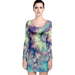 Violet Teal Sea Shells, Abstract Underwater Forest (purple Sea Horse, Abstract Ocean Waves  Long Sleeve Velvet Bodycon Dress