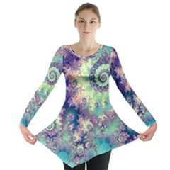 Violet Teal Sea Shells, Abstract Underwater Forest (purple Sea Horse, Abstract Ocean Waves  Long Sleeve Tunic