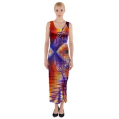 Winter Crystal Palace, Abstract Cosmic Dream (lake 12 15 13) 9900x7400 Smaller Fitted Maxi Dress