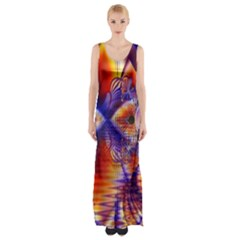 Winter Crystal Palace, Abstract Cosmic Dream (lake 12 15 13) 9900x7400 Smaller Maxi Thigh Split Dress