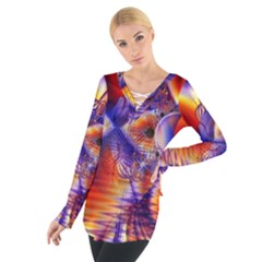 Winter Crystal Palace, Abstract Cosmic Dream (lake 12 15 13) 9900x7400 Smaller Women s Tie Up Tee