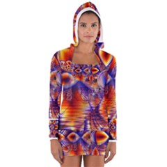 Winter Crystal Palace, Abstract Cosmic Dream (lake 12 15 13) 9900x7400 Smaller Women s Long Sleeve Hooded T-shirt