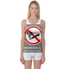 No Smoking  One Piece Boyleg Swimsuit