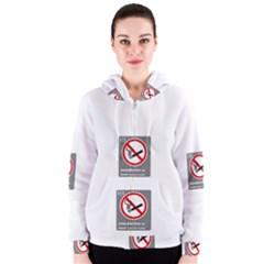 No Smoking  Women s Zipper Hoodie