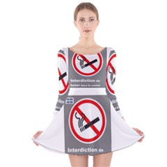 No Smoking  Long Sleeve Velvet Skater Dress