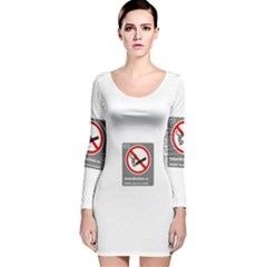 No Smoking  Long Sleeve Velvet Bodycon Dress